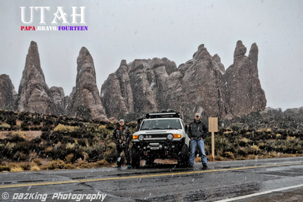 Snowing at Arches National Park in Moab Utah