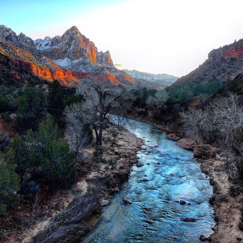 Sunset over the river at Zion National Park