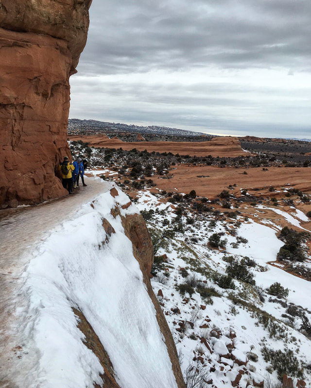 Ice covered path at Arches National Park